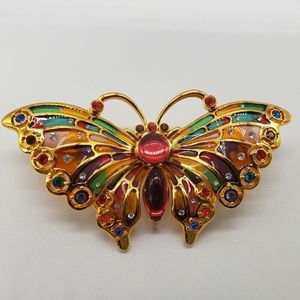 Joan Rivers Faux stained glass Butterfly Brooch